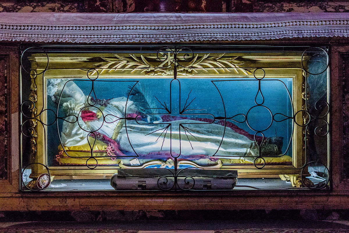 Image of the skeletal remains of St Vittoria located in St Maria Sopra Minerva Basilica in Rome, Italy.