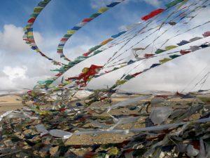Tibetan Prayer Flags Blowing